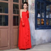 Free Shipping Banquet 2013 bride chiffon red long bridesmaid formal dress