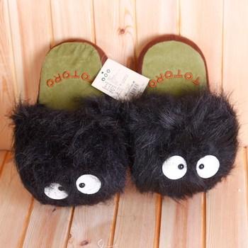 Cartoon slipper - - totoro briquette thermal slippers at home cartoon plush cotton floor  Cute beautiful animal slippers