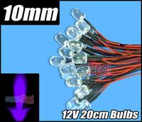 10pcs X 12V Purple UV 10mm Round LED Pre Wired Lights 20cm