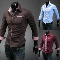 casual blouse men camisa Man Dress shirts striped lining Slim casual long-sleeved shirt outstanding black white M L XL XXL 5006
