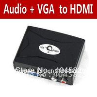 Free Shipping Audio VGA to HDMI Video HD HDTV Converter Box 1080P