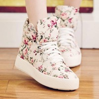 ladies sneakers.Fashion 3cm thick heels shoes. high upper flower casual shoes.women sneakers lovely  walking  shoes sk2040