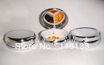 Bigger Metal Blank Pill boxes DIY Storage Box Medicine Organizer container Silver 6cm-Express