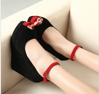 Open toe high-heeled shoes 2012 autumn double strap platform wedges single shoes color block decoration women's low shoes