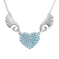 Sterling silver jewelry /Best-selling jewelry, 10% (12 pieces or more)  romantic angel crystal necklace - B68