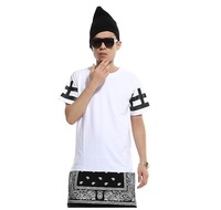 Spring 2014 Fashion Mens Zipper Lengthen Bandana Cashew Flower Short Sleeve T Shirt/ Men Dress Shirts/ Dress Shirt For Boys