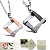 OPK JEWELRY 2013 New Arrival Fashion Square 316L stainless steel Pendant Necklace Women/ Men's Love Gift, Nickel Free 842