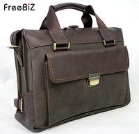 Freebiz laptop bag 14 male fashion genuine leather bag business bag nubuck leather one shoulder laptop bag
