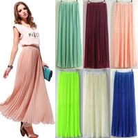 HOT! Womens Chiffon Pleated Retro Long Maxi Full Skirt Elastic WaistBand skirt
