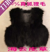 free shipping fox coat Spring and autumn shrug fox fur genuine leather wool vest fur vest  retail /whosale