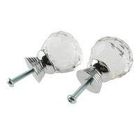 12x Cabinet Knob Cupboard Drawer Crystal Glass Clear Pull Handle for Wardrobe