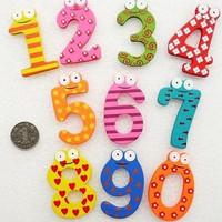 Free shipping Child digital refrigerator stickers cartoon wooden refrigerator stickers and  magnets toy,15pcs/lot,D167