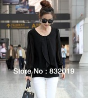 autumn and spring NEW HOT Fashion trend Cozy women ladies clothes Tops Tees T shirt Long-sleeved Unique plus size 6 size Chiffon