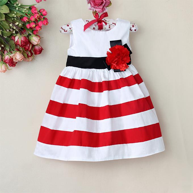 Baby Girls Flower Dresses, Red and White Stripeds Christmas comforter Princess Dress for 1-6 years children , Baby wear(China (Mainland))