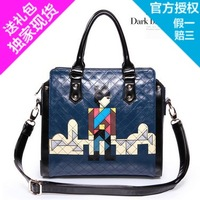 Adorer adore2013 spring new arrival women's handbag sewing thread plaid color block handbag casual bag