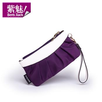 Waterproof purple clutch square horizontal day clutch wallet nylon canvas bag small change fashion mobile phone bag