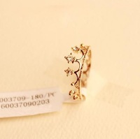 Min. Order $5 (can mix) 2013 New Fashion Jewelry Wholesale Rhinestone Studded Crown Finger Ring Free Shipping