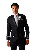 free shipping\Black Satin Groom wear Tuxedos Groomsmen Men Wedding dress Best man Suits \custom made cheap groom suit vest