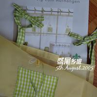 Free shipping!sheer fabric Original packing green check bow kitchen curtain
