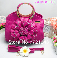 For women`s 2013 fashion brand design tote handbag flower metal tote bag inlay jewelry brand good quality bag free shipping