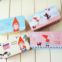 High quality product cartoon little red riding hood tin metal tin big capacity storage box