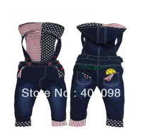 baby overall hooded jeans pant kids denim trousers