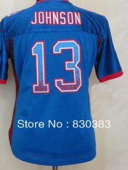 Drop Shipping.2013 New Cheap Womens 13 Johnson Drift Fashion Blue Elite Jersey,Team USA Rugby Football SportS Shirt,Stitch Names