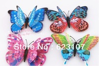 Super simulation double butterfly,with flash powder,permanent magnet,3D fridge magnet,wall stickers,household adornment toys.