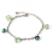 Wholesale\Retail! Hot Sale 20cm*4.8mm 316L Stainless Steel Silver Chain Blue Green Crystal Balls Charms Bracelet Bangle for Girl