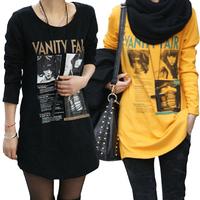 Spring plus size clothing mm long design loose basic shirt long-sleeve T-shirt female