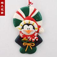 Multicolour bread soil clay sculpture christmas penguin hangings christmas tree christmas decoration