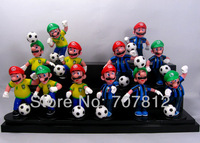 Super Mario Bros Action Figures Brazil VS Italy  Football Team Collection Toys PVC 12PCS/Set High Quality Free Shipping