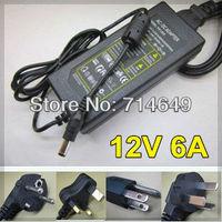 2pcs freeshipping, AC/DC 12V6A LED switching power supply adapter, AC110-240V input, 12V LED lighting transformer