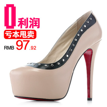 Sexy nude color platform wedding shoes color block pointed toe rivet decoration thin heels high heels fashion shallow mouth