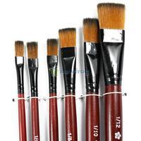 Art Artist Supplies 6 Brown Nylon Paint Brushes S7NF