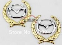 1 Pair Mazda Car Motor Auto Metal Side Fenders Trunk  Pillar Hood  Golden Grains Sticker Emblems Badges