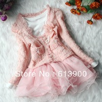 Free shipping Retail fall 2013 new Baby girls clothing set, Kids flower pearl lace suit/coat+long sleeve veil tutu dress clothes