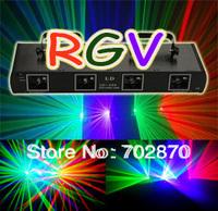20%off! dj lighting-230mW 3 Color 4 Lens RGV Laser Light DMX Sound DISCO DJ PARTY Light--Free Shipping