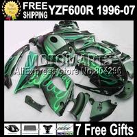 7gifts&Tank  Body For YAMAHA YZF600R 1996 1997 1998 1999 2000   YZF 600R 2004 2005 2006 2007 Green flames blk  Q9170   Fairing