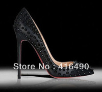 Free shipping New arrival fashion 2013 11cm pointed toe rivet high-heeled shoes shallow mouth 621 - 3