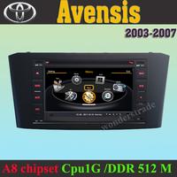 Car DVD Player radio GPS navigation for  Toyota Avensis 2003 -2007 + 3G WIFI + V-20 Disc + 1GB cpu + DDR 512M RAM  + A8 Chipset