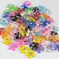 Wholesales 1000pcs/lot 12 Mixed Colors Flower Shape Nail Art Resin Decoration For 3D Nail Art Free Shipping