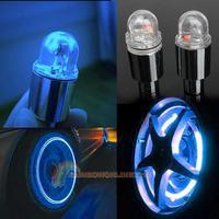 R1 1 Pair Cycling Bike Bicycle Neon LED Wheel Spoke Valve Cap Alarm Wheel Lights