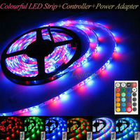 New!!!3528 RGB  colourful Led Strip Waterproof 5M SMD 3528 300 LEDs/Roll 24-key IR Remote 12V 2A Adapter Free Shipping