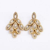2013 New Fashion fashion accessories alloy crystal leaves Women stud earring