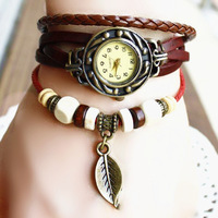 retro leather bracelet watches,  quality first-class leather strap  + green wood bead,    send gifts, holiday gifts watch