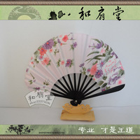 Folding female  mushroom  shell powder chokecherry black fan cover