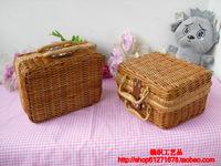 Vintage picnic basket bag straw bag knitted box rattan bags rattan rustic storage box suitcase female fancy dress box