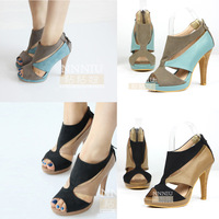 Spring women's shoes cutout platform open toe high-heeled shoes ol shoes