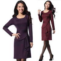 2014 new spring women's  outfit slim waist fashion formal plus size long-sleeve plus size plus size  dress solid color